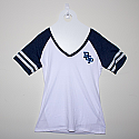 Ladies white & blue v-neck